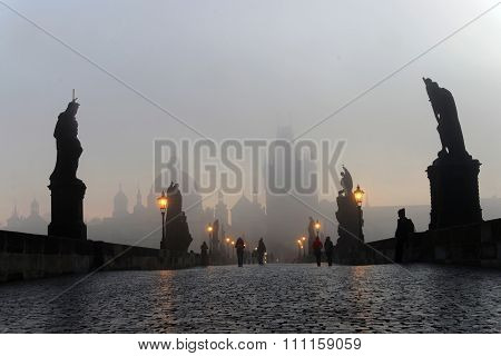 Charles Bridge In Prague A Foggy Morning