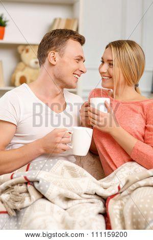 Happy couple enjoying themselves.