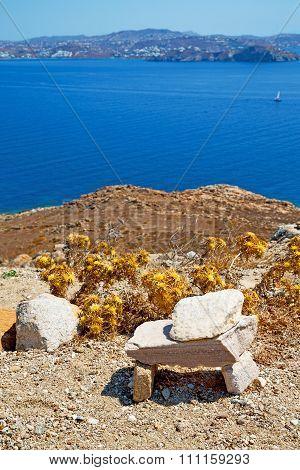 Sea In Delos Greece The   Ruin