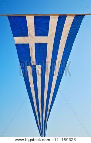 Waving Greece Flag  And Flagpole