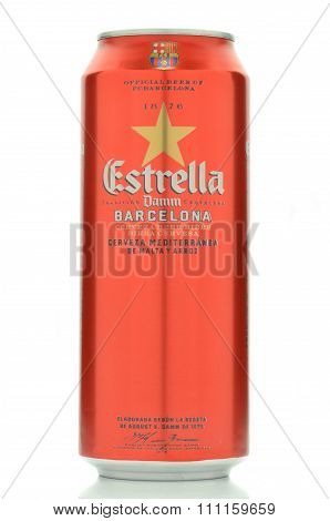 Estrella damm pilsner beer isolated on white background