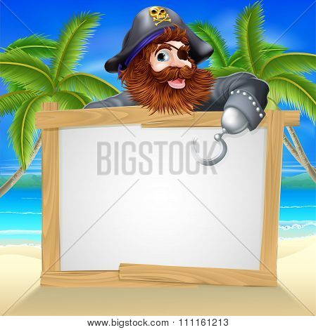 Cartoon Pirate Beach Sign