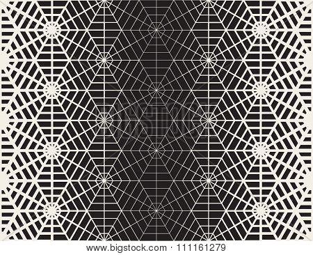 Vector Seamless Black And White Geometric Line Grid Spiderweb Shape Pattern