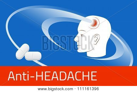 Headache Relief Medicine. Medication Packing Design Template. Illustration Of Pills Against Pain In