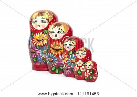 Russian Doll Matreshka Isolated On White Background