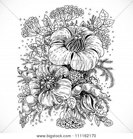Black And White Drawing Fantasy Flower And Leaves Composition