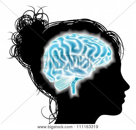 Woman Glowing Brain Concept