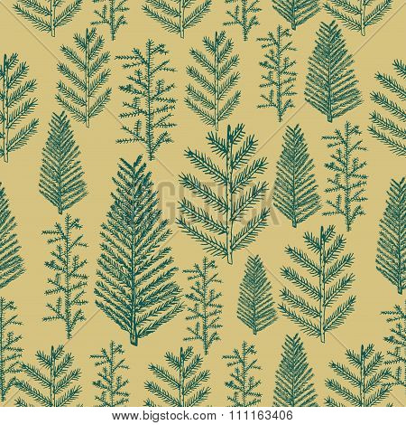 Seamless pattern christmas tree on gold background