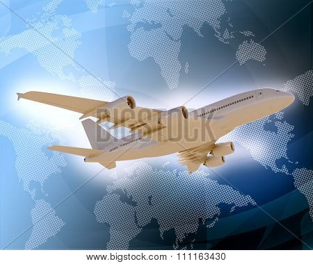 Jet with world map on blue background