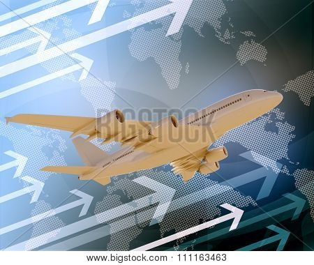 Jet with world map and arrows