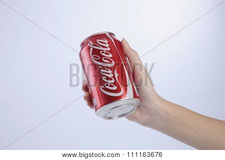 kuala lumpur-malaysia, 16th november 2015, female hand holding  coca cola can