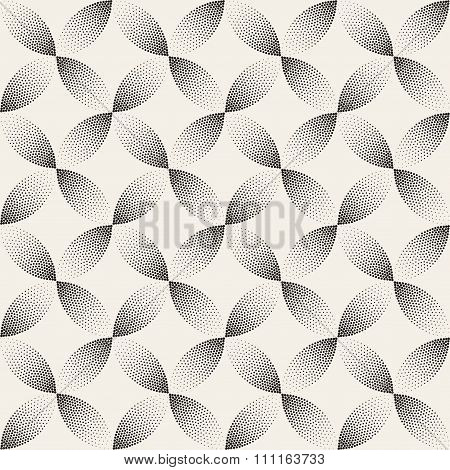 Vector Seamless Black And White Stippling Arc Circle Shapes Gradient Halftone Dot Work Pattern