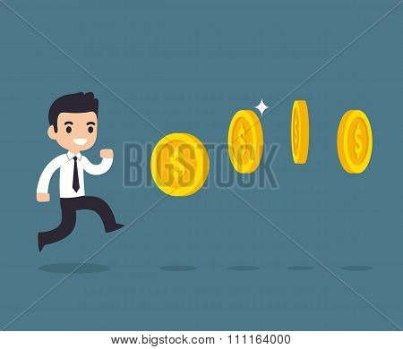 Businessman Chasing Coins