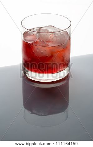 Iced tea with ice cubes in a glas