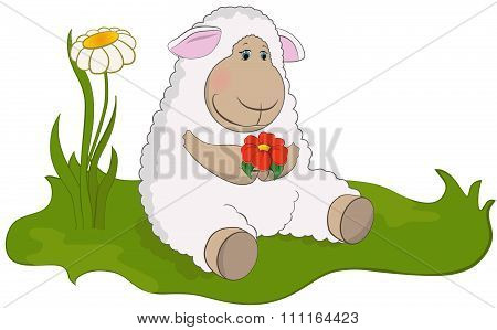 Lamb in the spring meadow.