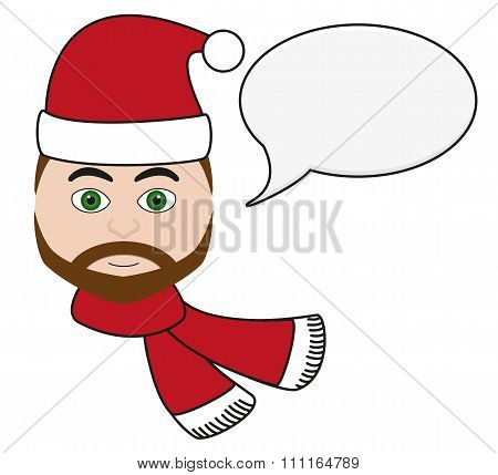 Handsome Man With Festive Apparel With Speech Bubble