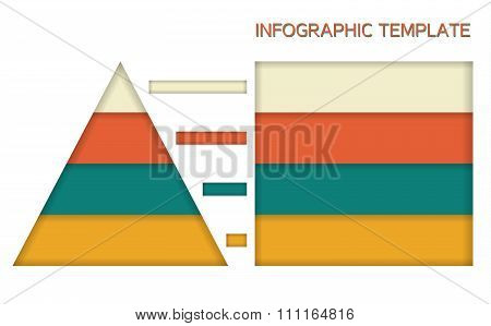Infographic Template In Solid Colors - Pyramid And Chart