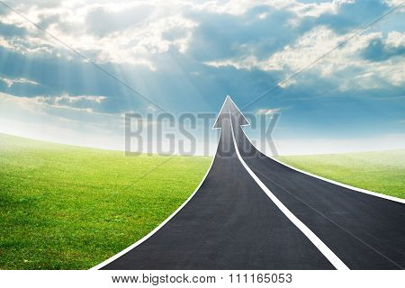 Road going up as an arrow