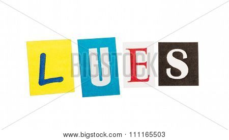 Caption lues composed from clipped letters