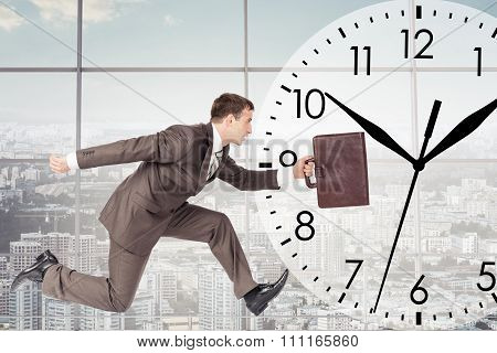 Man running with clock background