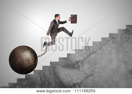 Confident businessman running upstairs