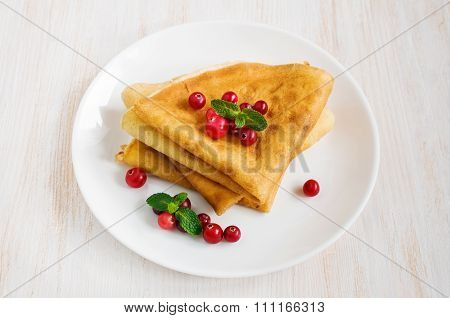 Pancakes With Fresh Cranberries