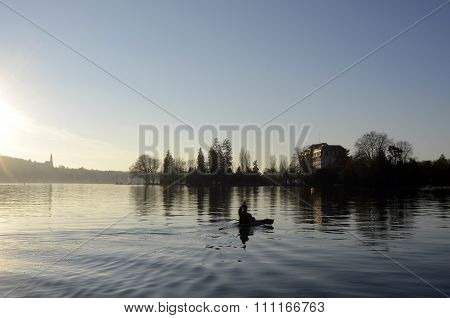 Annecy Lake Landscape And Kayaker In France