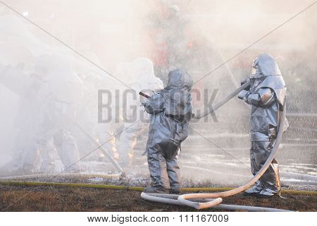 Orel, Russia - December 09, 2015: Emergency Control Ministry (mchs) Tactical Exercise. Firefighter F