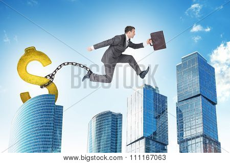 Man jumping over gap with dollar ballast
