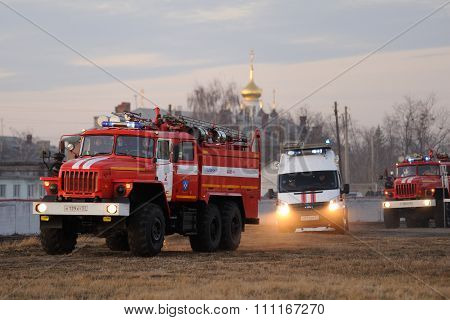 Orel, Russia - December 09, 2015: Emergency Control Ministry (mchs) Tactical Exercise. Russian Emerg