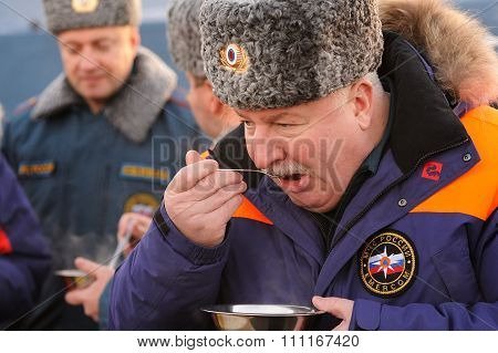 Orel, Russia - December 09, 2015: Emergency Control Ministry (mchs) Tactical Exercise. Leonid Belyae