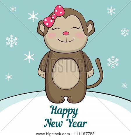 Cute monkey under the snow. Symbol of 2016 on the Chinese calendar.