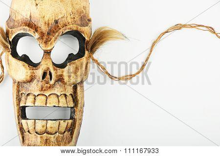 Wooden Carved Skull Death Mask On White
