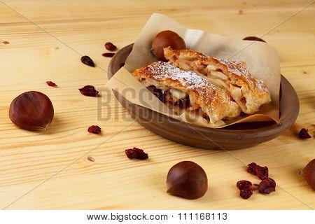 Chestnuts And Raisins Around Apple Strudel