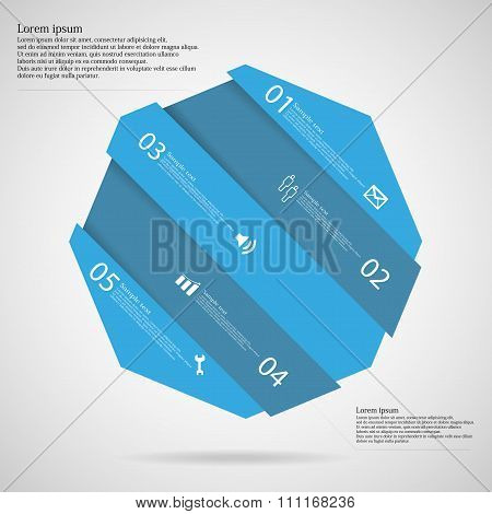 Infographic Template With Octagon Askew Divided To Five Blue Parts
