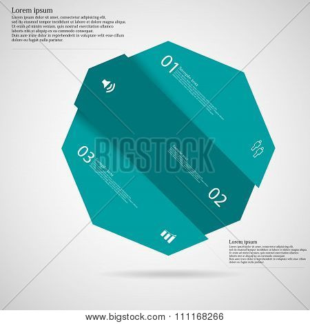 Infographic Template With Octagon Askew Divided To Three Blue Parts