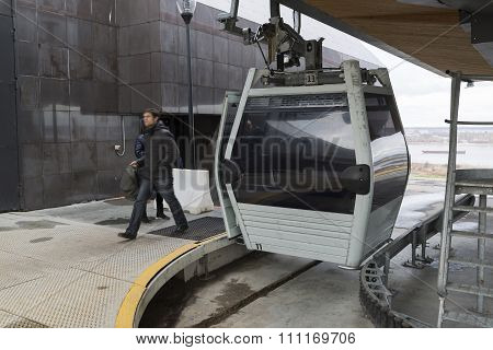 Nizhny Novgorod, RUSSIA - November 04.2015. The cable car across the river Volga is a  longest in co