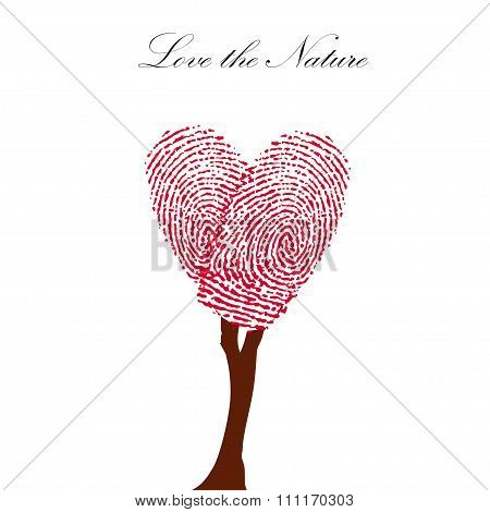Heart pink tree with finger prints vector EPS illustration.