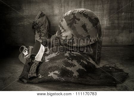 Still life with army equipments for soldier