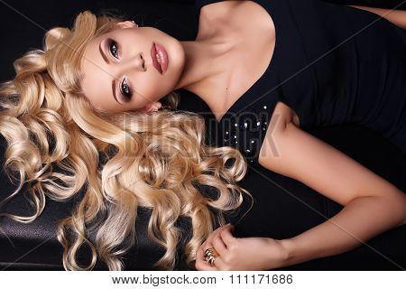 Beautiful Charming Woman With Long Blond Hair Wears Elegant Dress And Accessories