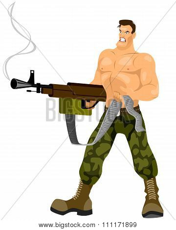 Commando With Machine Gun