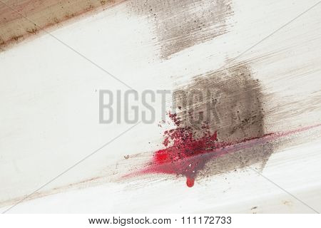 Brushstroke With Red And Brown Paint  On Dusty Metal Fence