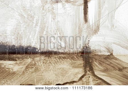 Brushstroke With Brown Paint  On Dusty Metal Fence