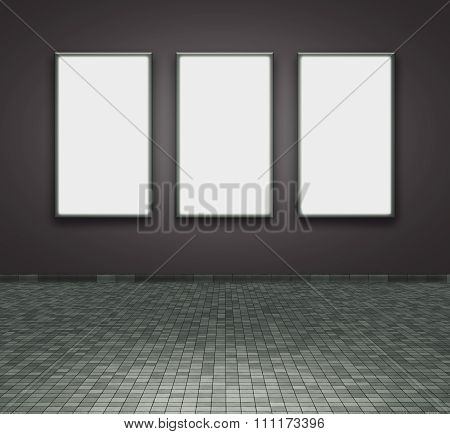 Frames on the wall with brick floor