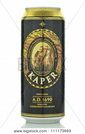 Kaper lager beer isolated on white background
