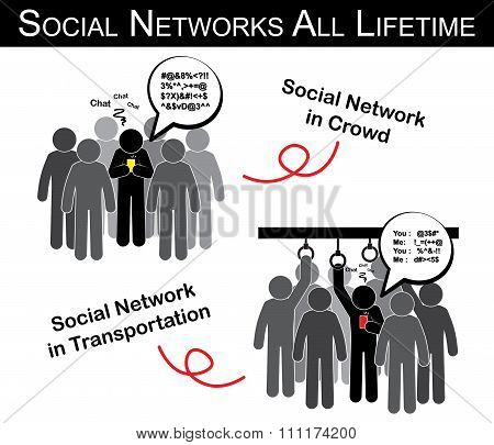 Social Networks All Lifetime ( Man Chat With Someone In Crowd , Transportation And Ignore Everything