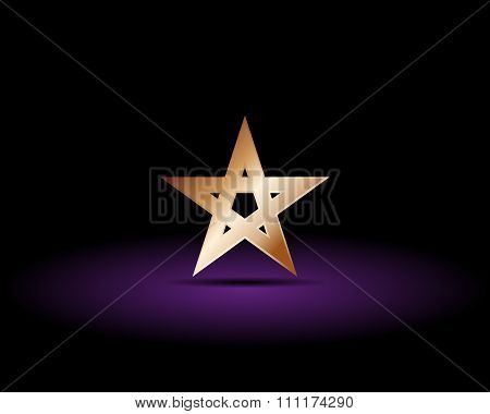 Gold Pentagram On A Black Background