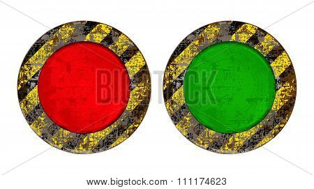 Vekton Dirty Old Rusty Red And Green Round Button With Glowing Backlight Scratched On A Yellow Backg