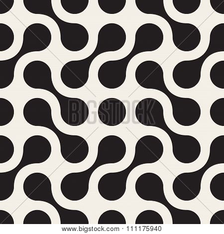 Vector Seamless Black And White Rounded Arc Connected Circles Pattern
