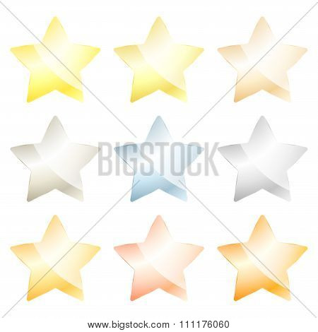 Set Of Vector Star Of Platinum, Gold, White Gold, Silver, Bronze, Brass, Aluminum